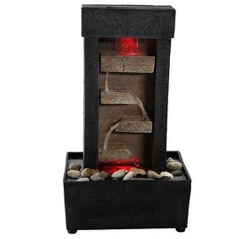 Sunnydaze Tiered Shelves Lighted Tabletop Fountain, 10 Inch Tall