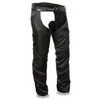 Mens Textile Chaps W/Leather Trim Detailing