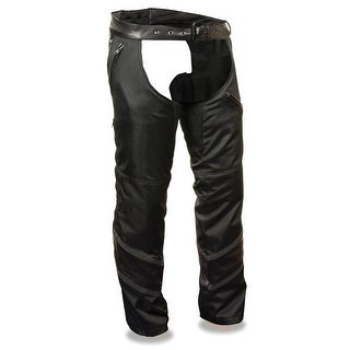 Mens Textile Chaps W/Leather Trim Detailing
