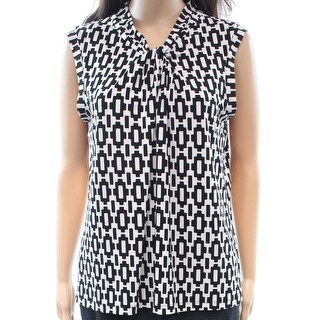 Tommy Hilfiger NEW Black Womens Size Small S Geometric Print Blouse