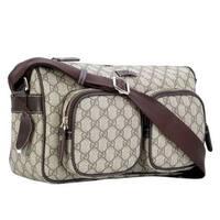 79e19d670ca1 Gucci Men's GG Plus Beige/Ebony Canvas Shoulder Bag 246881 8588 - One size