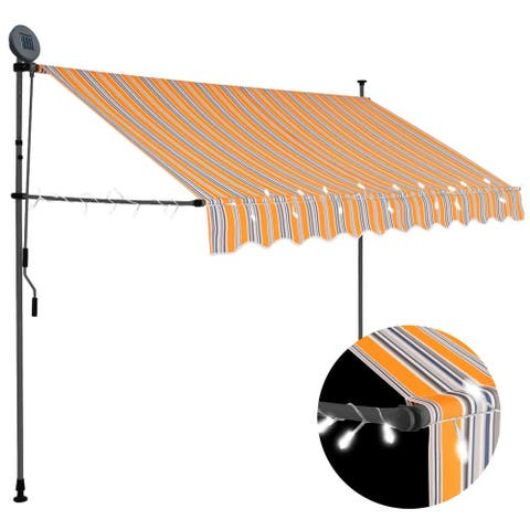 """vidaXL Manual Retractable Awning with LED 118.1"""" Yellow and Blue"""