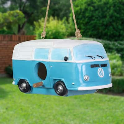 Exhart Vintage Blue Van Hanging Bird House, 8 by 4.5 Inches