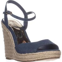 Carlos Carlos Santana Lillith Peep Toe Wedge Sandals, Denim