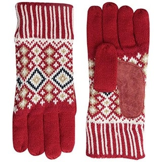 Isotoner Womens Knit Leather Trim Winter Gloves - o/s
