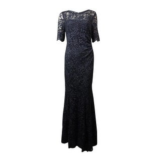 Xscape Women's Illusion Glittered Lace Mermaid Gown - slate silver