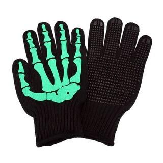 Green Skeleton Hand Knit Gloves Mechanics Work Biker OSFM