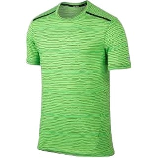 Nike NEW Bright Green Black Mens Size XL Dri-Fit Mesh Striped Shirts