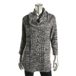 John Paul Richard Womens Cowl neck Marled Pullover Sweater