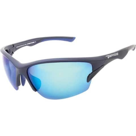 ca6432ebf7 Peppers Pacifica Sunglasses Matte Navy Brown Polarized Ocean Blue Mirror -  US One Size