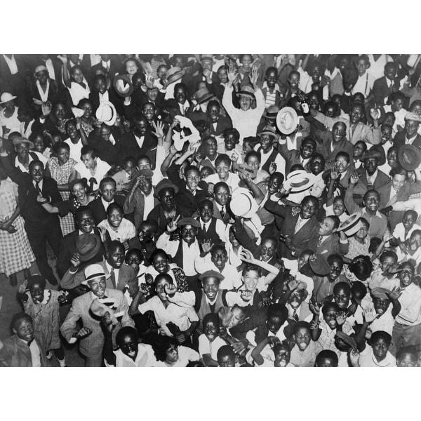 Harlem Crowd Celebrating African American Boxer History