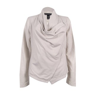 INC International Concepts Women's Draped Faux-Leather Jacket (S, Dreamy Chalk) - dreamy chalk