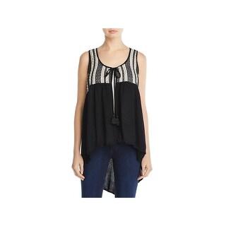 Avec Womens Casual Vest Crochet Striped - xL