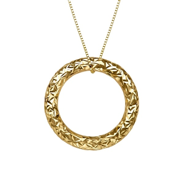 Just Gold Etched Circle Pendant in 14K Gold