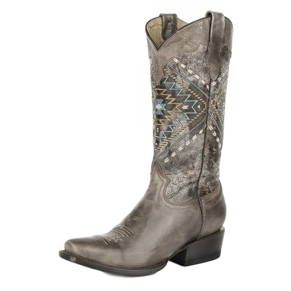 Roper Western Boots Womens Native Stitch B Brown