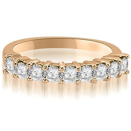1.30 cttw. 14K Rose Gold Round Diamond 9-Stone Prong Wedding Band
