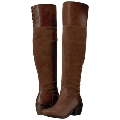 Lucky Brand Womens Komah Leather Almond Toe Over Knee Fashion Boots