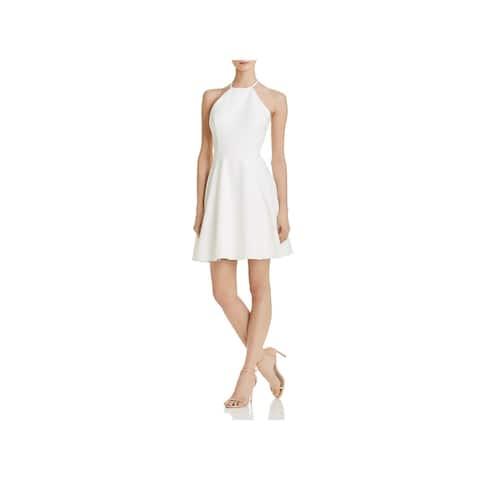 Aqua Womens Scuba Dress Lace Back Halter