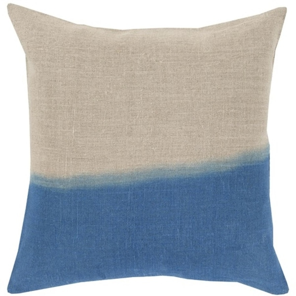 "22"" Blue and Gray Dip Dyed Decorative Throw Pillow - Down Filler"