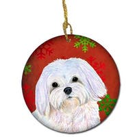 Maltese Red Snowflakes Holiday Christmas Ceramic Ornament