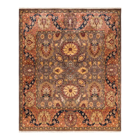 """Mogul, One-of-a-Kind Hand-Knotted Area Rug - Brown, 6' 1"""" x 6' 1"""" - 6'1"""" x 6'1"""""""