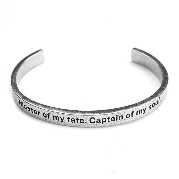 Women's Note To Self Inspirational Lead-Free Pewter Cuff Bracelet - Master Of My Fate - Silver