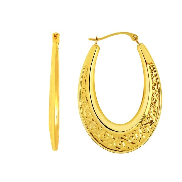Mcs Jewelry Inc 14 KARAT YELLOW GOLD OVAL HOOP EARRINGS WITH DESIGN