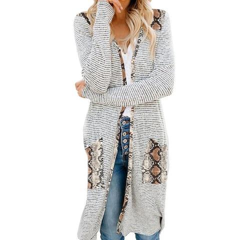 Women Long Sleeve Open Front Cardigan Leopard Camouflage Pocket Mid-Length Coat