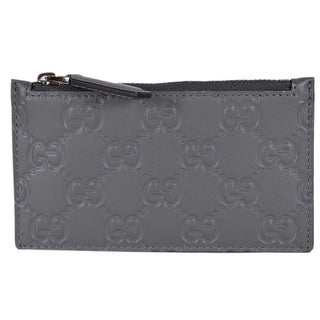 18916fe5d68 Shop Gucci 435366 Grey Leather GG Guccissima Zip Top Slim Small Card Case  Wallet - 5