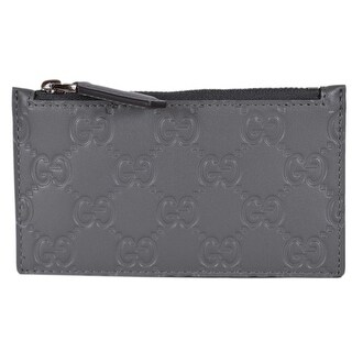 "Gucci 435366 Grey Leather GG Guccissima Zip Top Slim Small Card Case Wallet - 5"" x 3"""