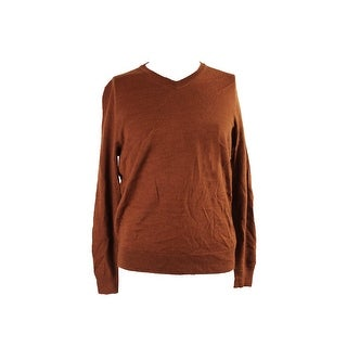 Club Room Rust Heather Long-Sleeve V-Neck Sweater S