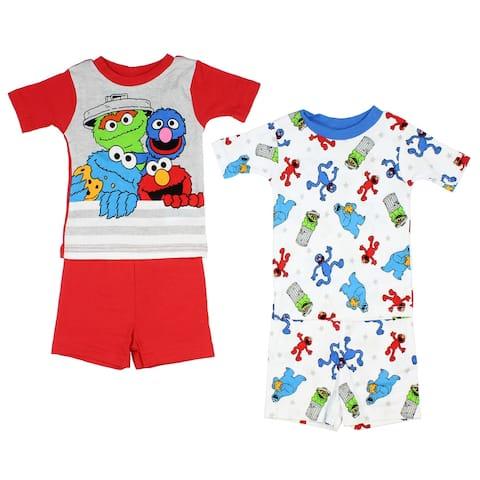 Sesame Street Boys' 4-Piece Cotton Pajama Set