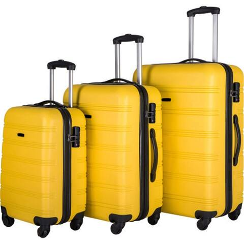 """AOOLIVE 3 Piece Yllow Luggage Set with TSA Lock 20"""" 24' 28"""" Available"""