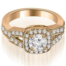 0.85 cttw. 14K Rose Gold Antique Round Cut Diamond Engagement Ring