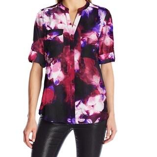 Calvin Klein NEW Purple Floral Printed Women's Size Medium M Blouse