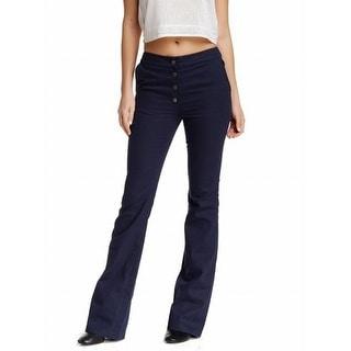 Valette NEW Navy Blue Women's 0X33 Button Fly High-Waist Wide-Fit Pants