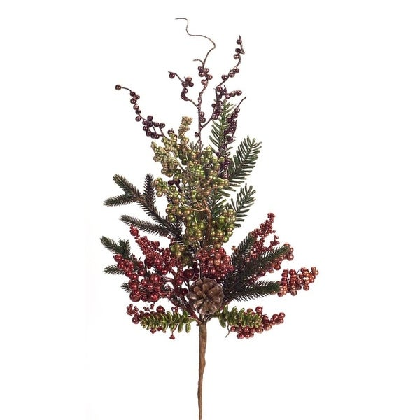 Club Pack of 12 Red and Green Artificial Metallic Berry/pine Christmas Sprays 28""