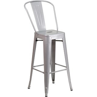 """Brimmes 30"""" High Metal Barstool Silver w/Curved Vertical Slat"""