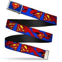 Superman Fcg Blue  Chrome Superman Shield W Cape Webbing Web Belt