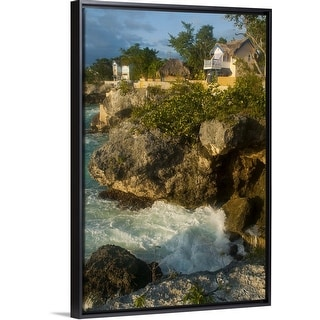 """Caves Hotel cottages on West End cliffs seen from Negril Point Lighthouse"" Black Float Frame Canvas Art"