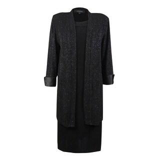 R&M Richards Women's 2PC Glitter Jacket & Shift Dress - Black