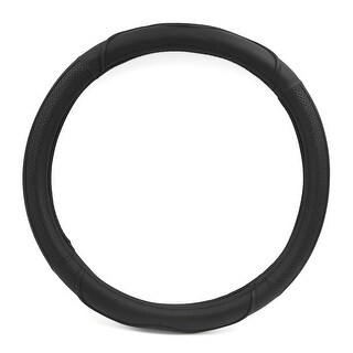 15 Inch Outer Dia Middle Size PU Leather Steering Wheel Cover Black for Car Auto