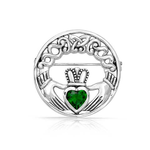 Celtic Claddagh Round Circle Brooch Pin Kelly Green Heart Shaped Cubic Zirconia 925 Sterling Silver