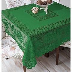 Tablecloth Grega Design Brazilian Lace 59x59 Inches Green Color 100 Percent Polyester