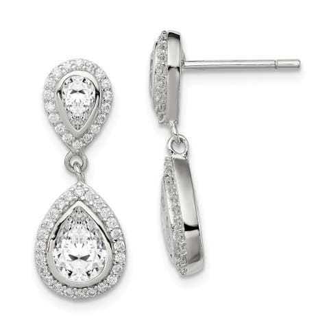 Curata 925 Sterling Silver CZ Cubic Zirconia Pear with Halo Post Dangle Earrings (9mm x 23mm)