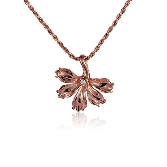 "Naupaka Flower Diamond Necklace 14k Rose Gold Pendant 18"" Chain"