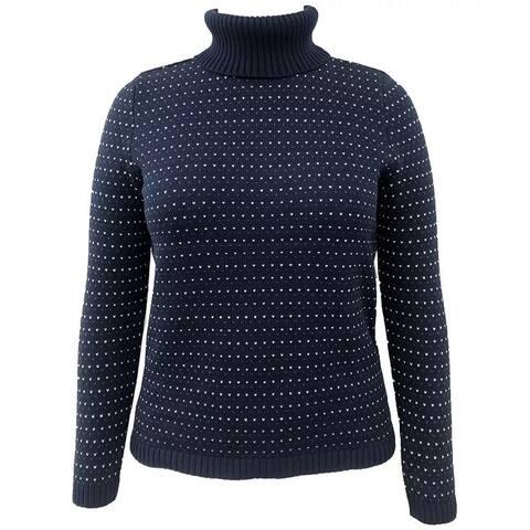 Karen Scott Women's Colorblocked Cotton Turtleneck Sweater Blue Size Large