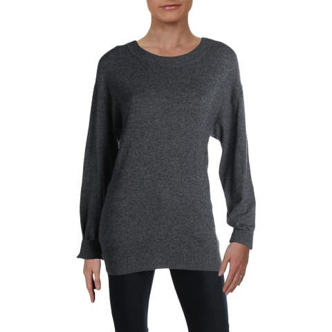 ALC Womens Pullover Sweater Heathered Cut-Out Back - Gray - M