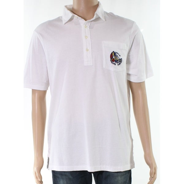 cb43afed Shop Polo Ralph Lauren White Mens Size Medium M Embroidered Polo Shirt - Free  Shipping Today - Overstock - 27900704
