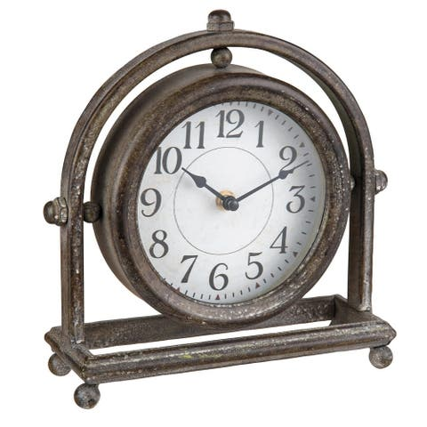 Foreside Home & Garden Round Rustic Metal Battery Operated Table Clock - 3.5x9.75x9